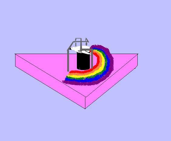 Rosa Dreieck mit schwarzem Podest, darauf weißer Vogel von 4 Stangen umgeben die sich zu einer Hakenkreuzform vereinigen.